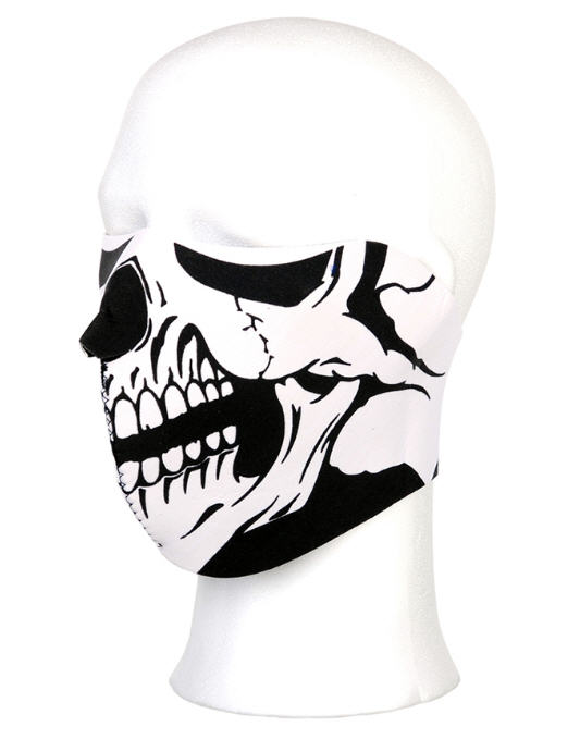 BIKER MASK HALF FACE WHITE SKULL