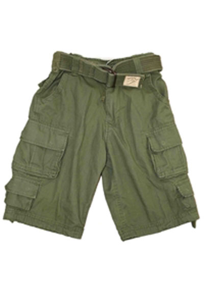 SHORT TROUSERS STONE WASHED GREEN
