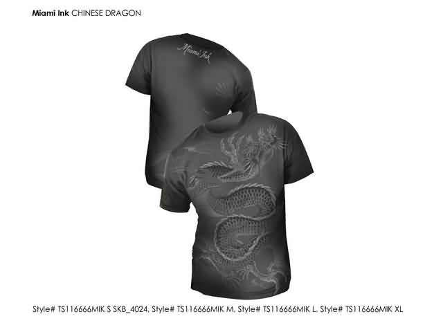 Miami Ink - Charcoal Chinese Dragon T-shirt MAAT: S