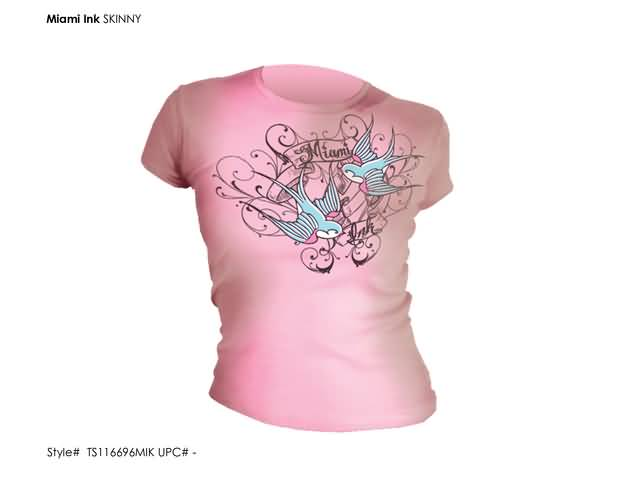 MIAMI INK - PINK SWALLOW GIRLIE T-SHIRT MAAT: S