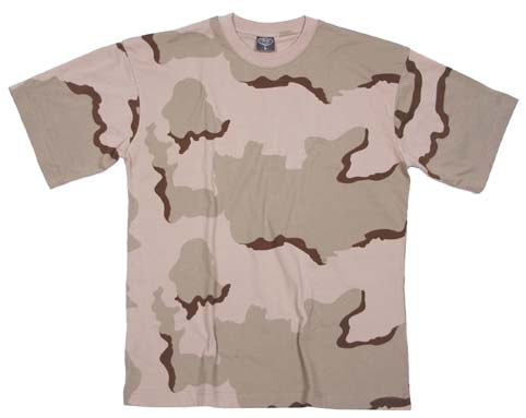 T-SHIRT 3 COLOUR DESERT CAMO SIZE XS/10