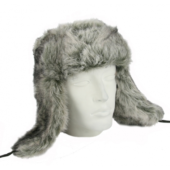 FAKE FUR RUSSIAN HAT POLAR GREY