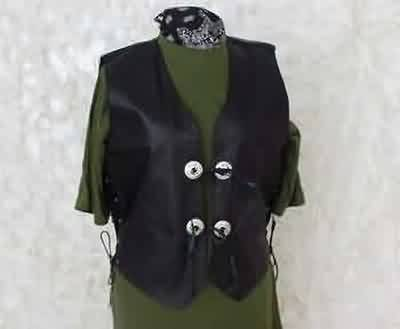 LEATHER CONCHO VEST Size XL