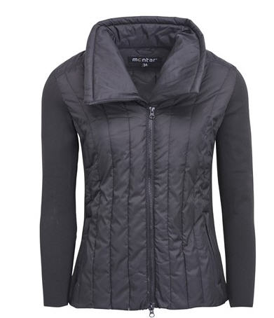 Montar Abigail black down jacket with rib sleeves